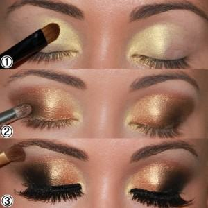 maquiagem dourada e marrom 300x300 Maquiagem dourada e marrom passo a passo